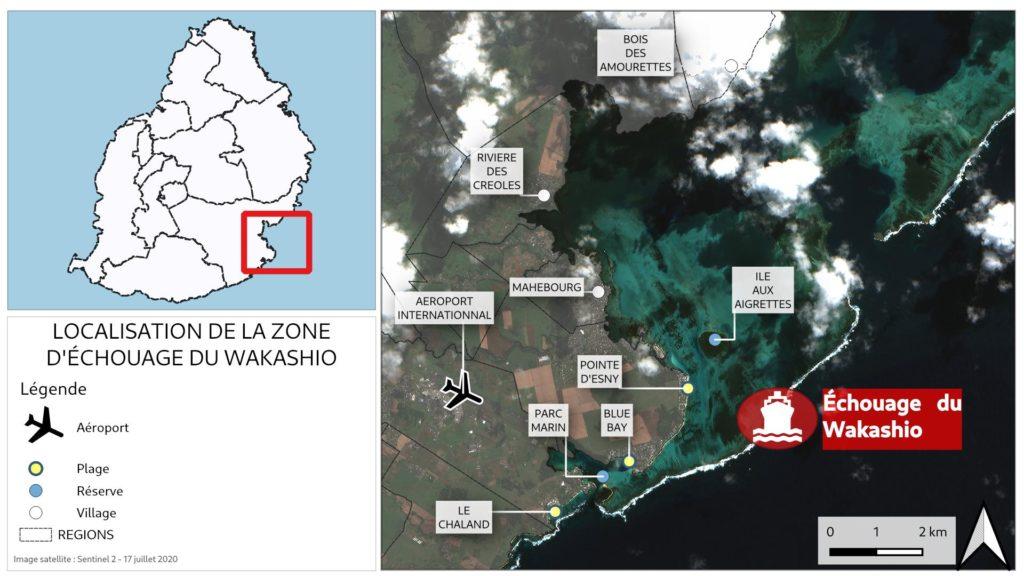 Localisation de l'échouage du wakashio